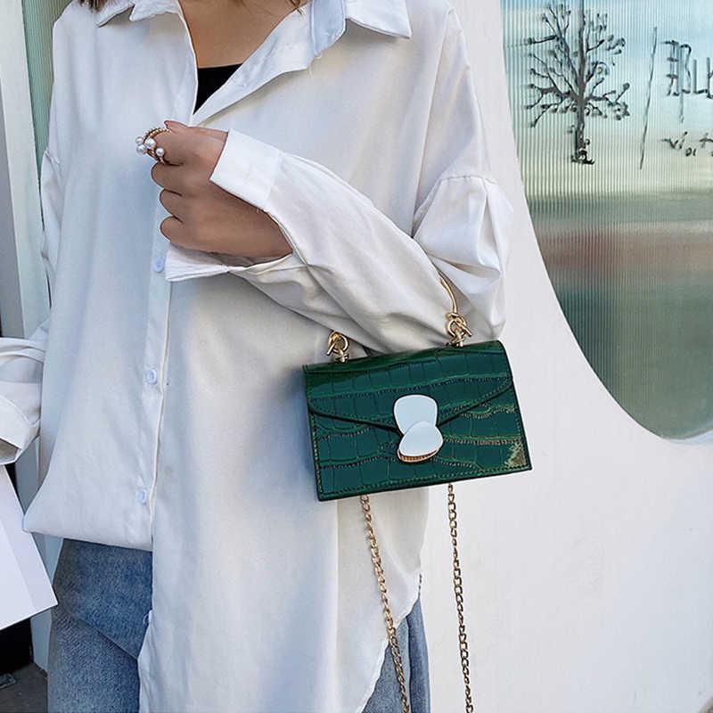 אופנה נשים תנין תיק Pu רך עור כתף תיק מנעול עיצוב Crossbody תיק איכות קטן שליח תיק מותג תיקים