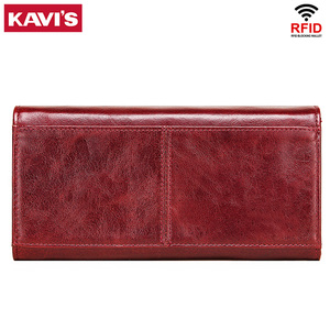Image 2 - KAVIS Genuine Leather Wallet Female Coin Purse Women Portomonee Clutch  Lady Clamp for Phone Bag Zipper Card Holder Handy Perse