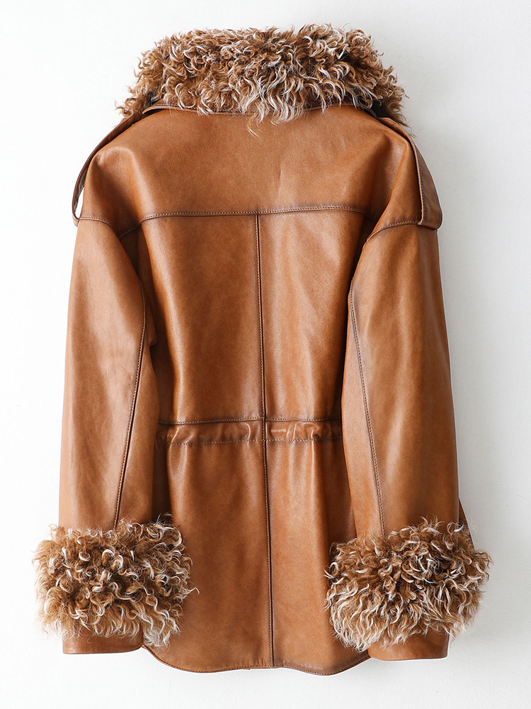 2020 Autumn Winter Real Genuine Women Sheepskin Coat Wool Collar Down Jacket Luxury Leather Jackets KQN69026