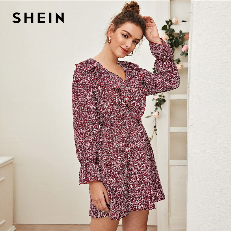 SHEIN Burgundy Ditsy Floral Print Ruffle Trim Dress Women Spring Long Sleeve V Neck High Waist Casual Boho Flared Dresses 2