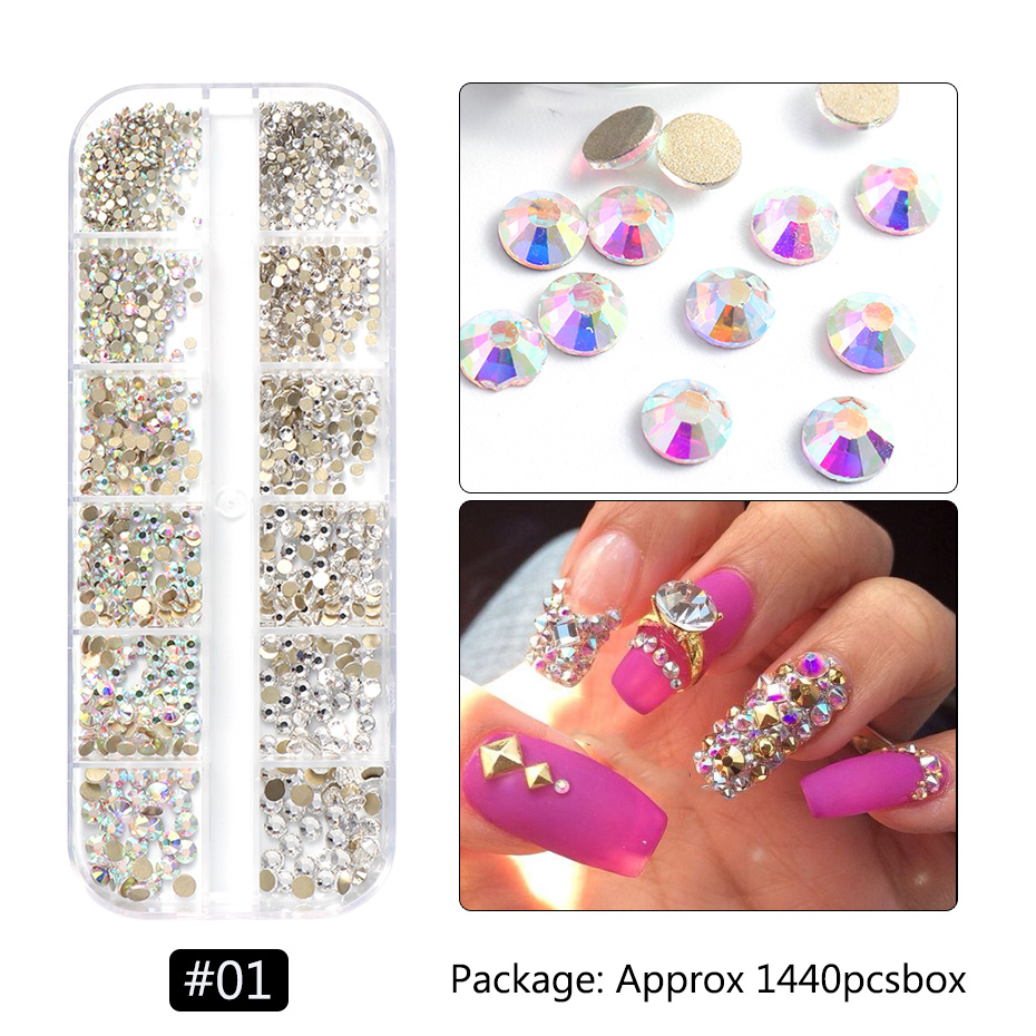 1440pcs Colorful Crystal Stones Nail Rhinestone Diamond 3D Flatback Glitter Strass Gems Nail Art Decorations Accessories 3