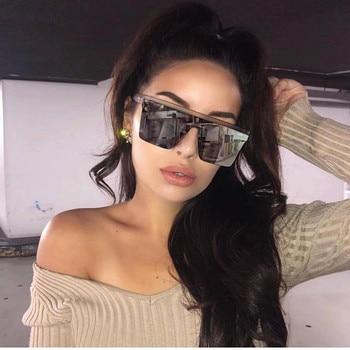15 colors Flat Top Sunglasses Men Women Brand Designer Square Shades Gradient Sun Glasses Men Cool One Piece UV400 Mirror