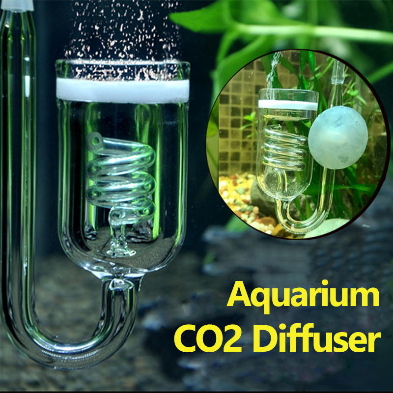 1Pc Aquarium CO2 Diffuser Glass Tank Bubble Atomizer Reactor Solenoid Regulator Moss CO2 Atomizer for 60~300L Plants