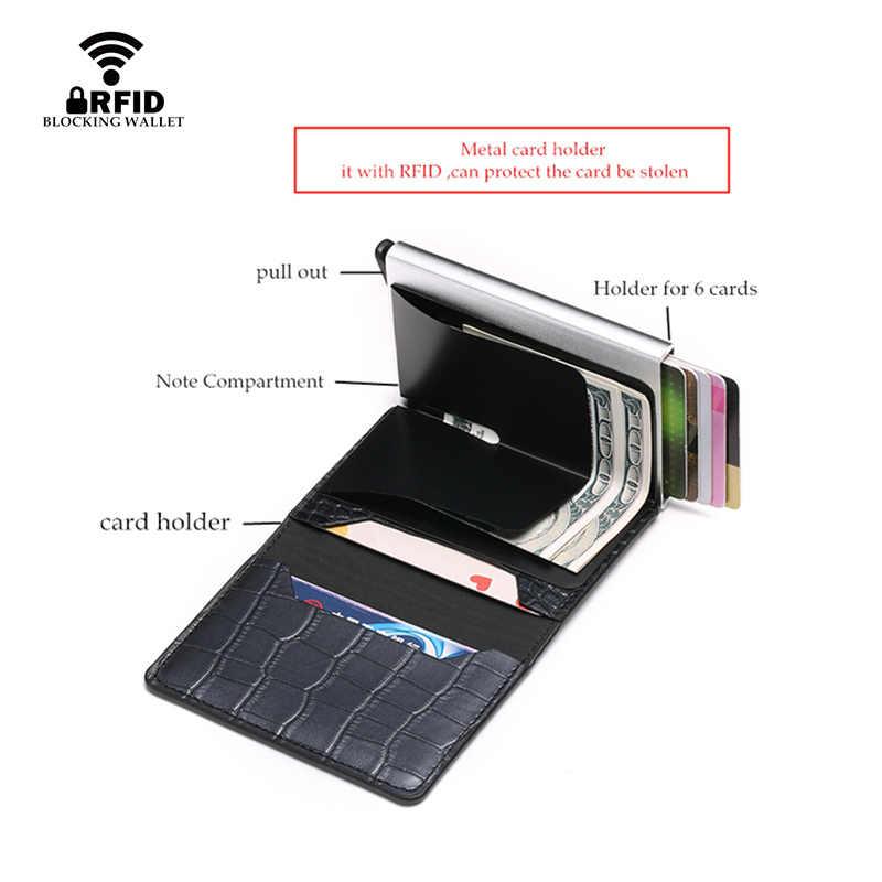 Bisi goro rfid carteira titular do cartão de crédito alta qualidade couro do plutônio alumínio suportes de cartão sólido colorido mini carteira dropshipping