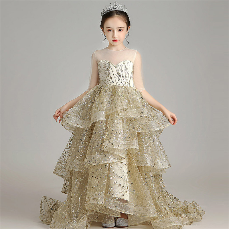 High Quality Children Girls Luxury Sequined Model Show Performance Catwalk Long Tail Prom Dress Kid Birthday Evening Party Dress