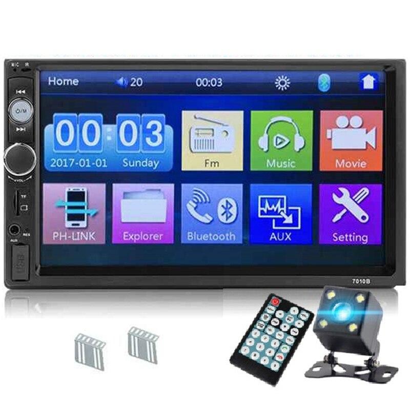 FFYY 7010B 2 Din автомагнитола 7 дюймов плеер Mp5 контактный экран Bluetooth мультимедийное зеркало Android камера заднего вида монитор (4Led)