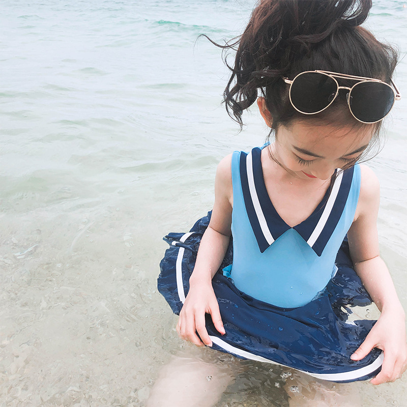 INS New Style Skirt Bathing Suit Big Boy One-piece Swimwear Spa Resort Navy Style Bathing Suit Girls
