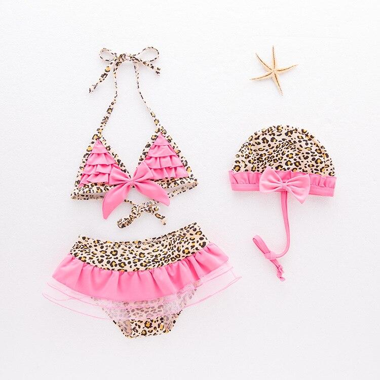 KID'S Swimwear Girls' Two-piece Swimsuit Leopord Pattern Halter Swimwear Mesh Skirt Bikini Beach Hot Springs 3 Pieces