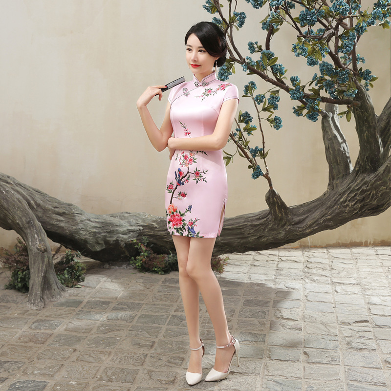 LGD107 New Style Spring And Summer Fashion Elegant Improved Cheongsam Dress Retro Slim Fit Slit Cheongsam Manufacturers Direct W