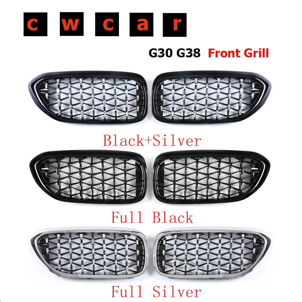 A Pair Top Quality ABS Material Front <font><b>Grill</b></font> Diamond Star Style Front Kidney Grille Bumper For BMW 5 Series <font><b>G30</b></font> G31 G38 2017+ image