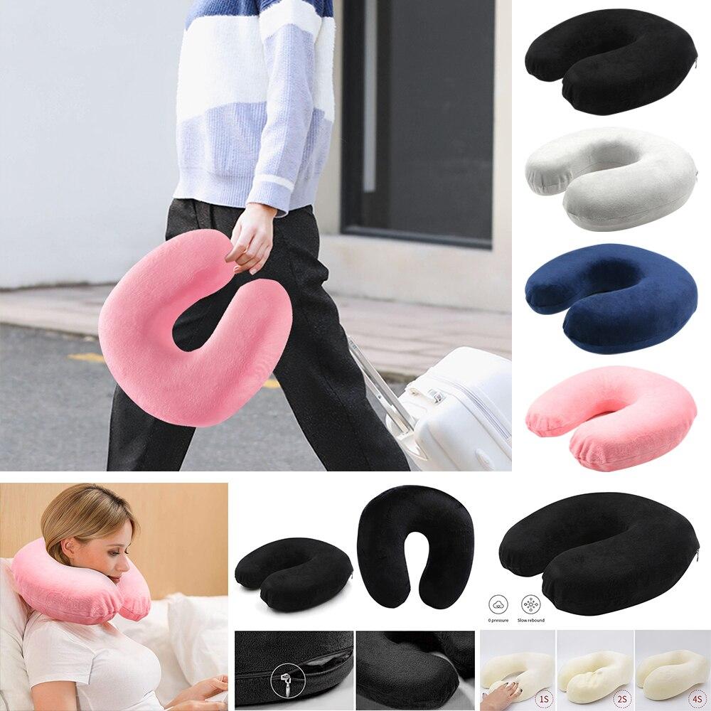 Подушка из пены с эффектом памяти, u-образные подушки для шеи, Ортопедическая подушка для самолета, поддержка шеи, аксессуары для путешествий, удобные подушки для сна