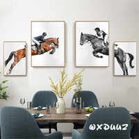 Home wall art decoration hot sport equestrian beauty and horse european modern design style poster canvas painting o118
