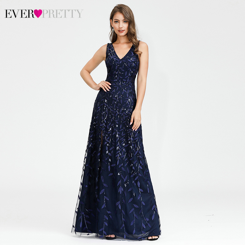 Ever Pretty Sexy Navy Blue Bridesmaid Dresses Sequined V-Neck Split Sleeveless Sparkle Wedding Guest Dresses Robe De Soiree 2019