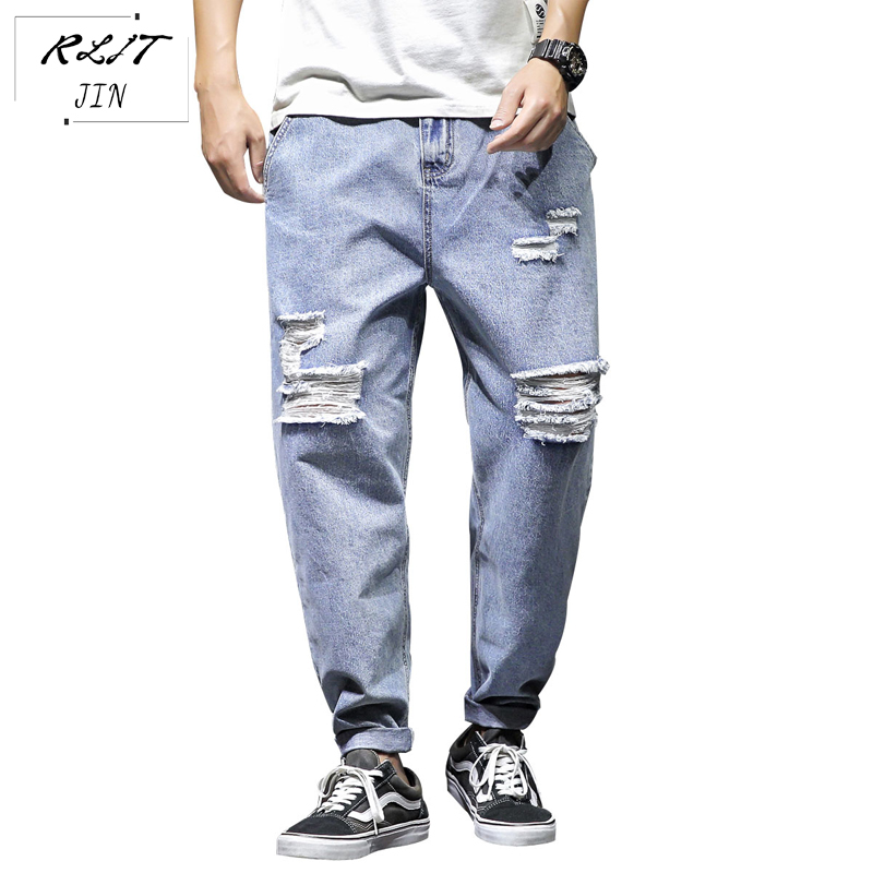 RLJT.JIN Trend Direction 2019 Hot Harajuku High Street Ripped Style Casual Jeans Mens Trousers Are Fashionable And Versatile