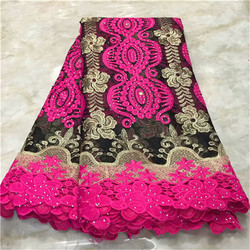 2019 Latest African Cord Lace Fabric with Stones Latest African Laces High Quality Guipure Lace Nigerian Lace Fabrics For Dress