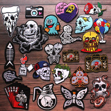 Schedel Ijzer Op Patches Voor Kleding Patch Cartoon Patches Op Kleding Applique Brief Punk Borduurwerk Patch Strepen Applique Decor