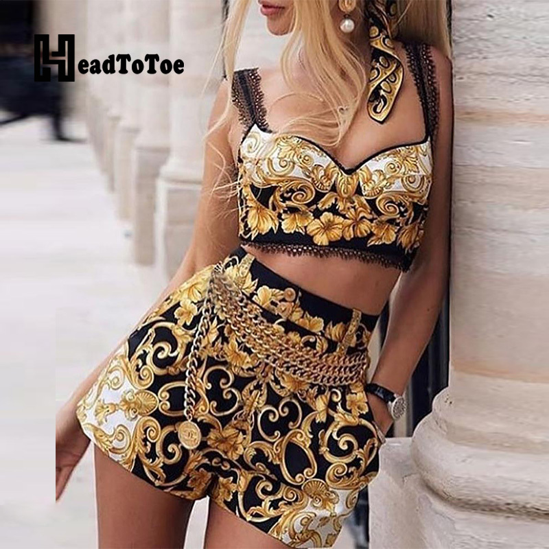 Fashion Print Cami Top & Short Sets Summer 2 Piece Outfits For Women Sexy V Neck Thick Strap Crop Tops And High Waist Shorts Set