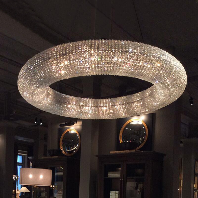 Luxury Crystal Living Room Chandelier Ring LED Modern Hotel Engineering Decorative Light Nordic Simple Lamp