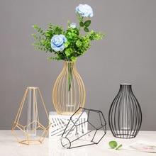 Flower-Vase-Ornaments Hydroponic-Vase Test-Tube Desktop-Decoration Glass Geometric Transparent