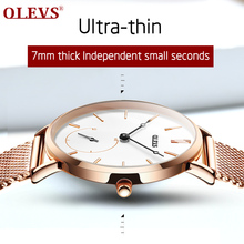 OLEVS Watch Women Ultra-thin luxury Independent second hand waterproof quartz watches Stainless steel sport Ladies wrist watch olevs часы