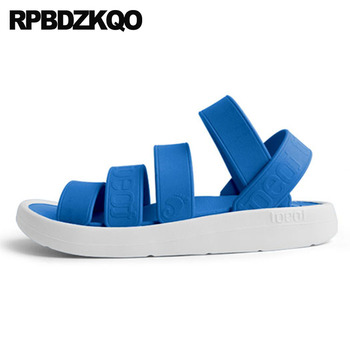 blue men gladiator sandals summer water slides slippers breathable green beach shoes rubber fashion native roman strap outdoor