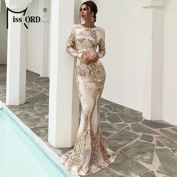 Missord 2020 Women Sexy O Neck Long Sleeve Backless Sequin Dresses Female Bodycon Maxi Dress Multi Evening Party Dress FT19747-1 missord 2020 women sexy deep v neck backless sequin dress women sleeveless maxi dress bodycon evening party dress vestido m0449