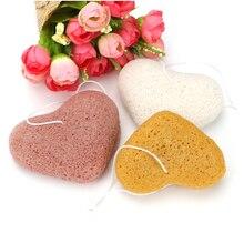 Органический Кожа Уход Отшелушивание Конжак Губка - 3 Пакет Сердце Форма с 3 цветами Натуральный