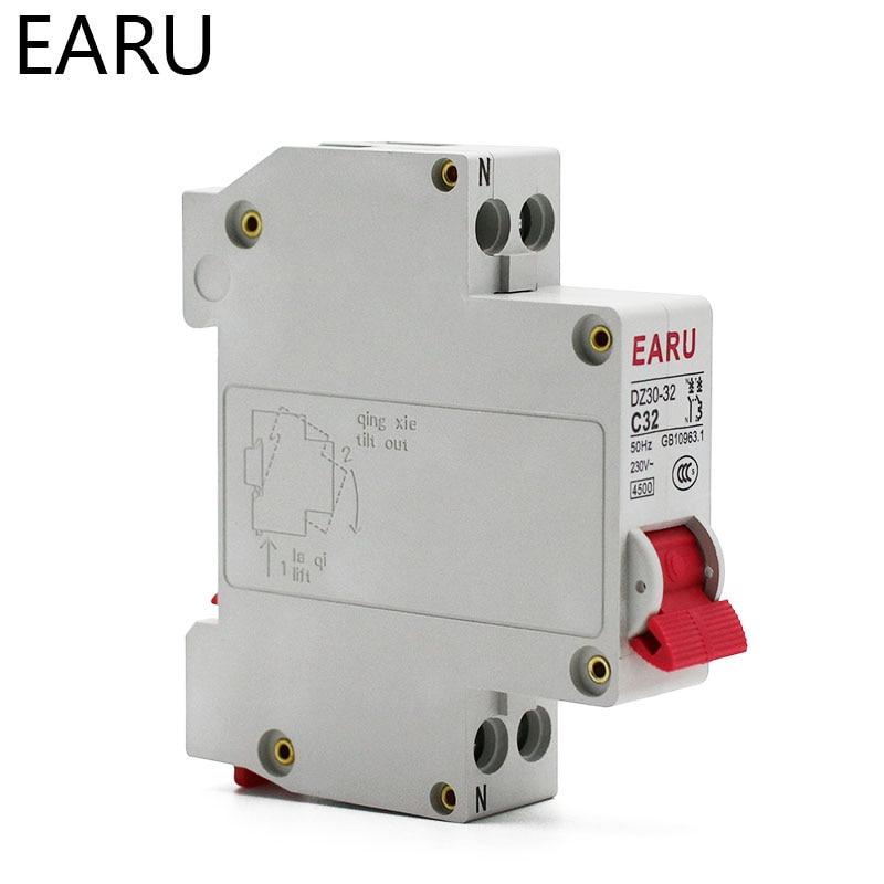 H8371105dce5f49a196361e8c8e1b05421 - DZ30-32 DPN 1P+N Mini Circuit Breaker MCB 6A 10A 16A 20A 25A 32A Din Rail Mounting Cutout Miniature Household Air Switch OEM DIY