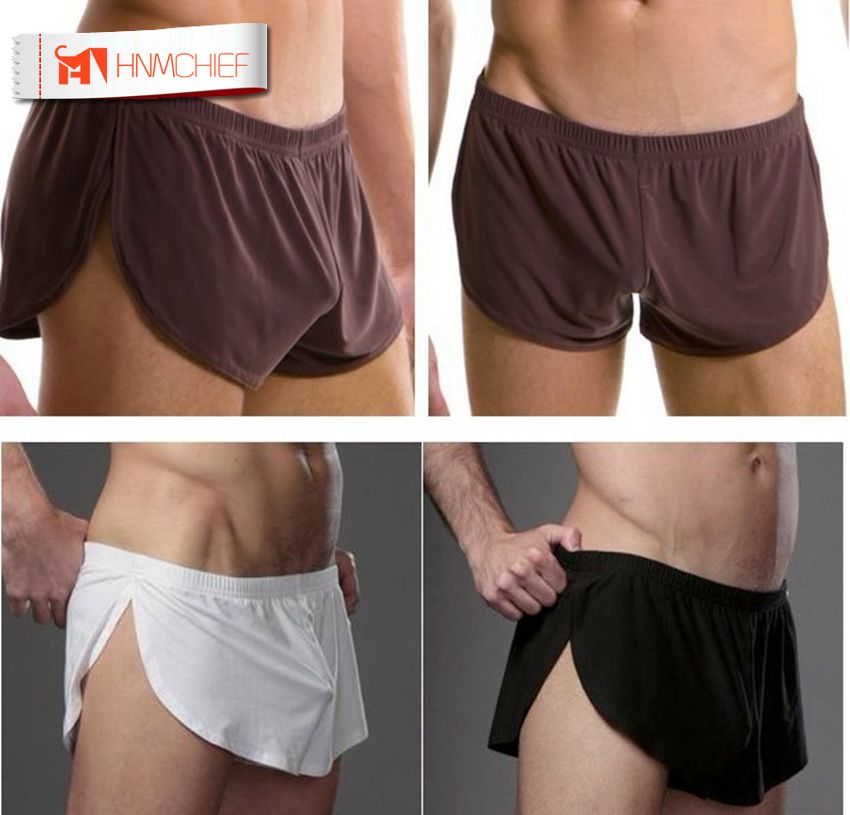 HNMCHIEF Men Male Underwear Comfortable Sexy Man Boxer Shorts U Convex Pouch Silk Sexy Body XXL Size Underpant Factory Sale