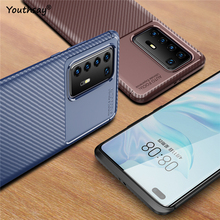 For Huawei P40 Pro Case Carbon Fiber Fundas Rubber Soft Silicone Protective Phone Case For Huawei P40 Pro Cover For Huawei P40 for huawei p40 pro case liquid silicone soft rubber back protector fundas for huawei p40 pro cover phone case for huawei p40 pro