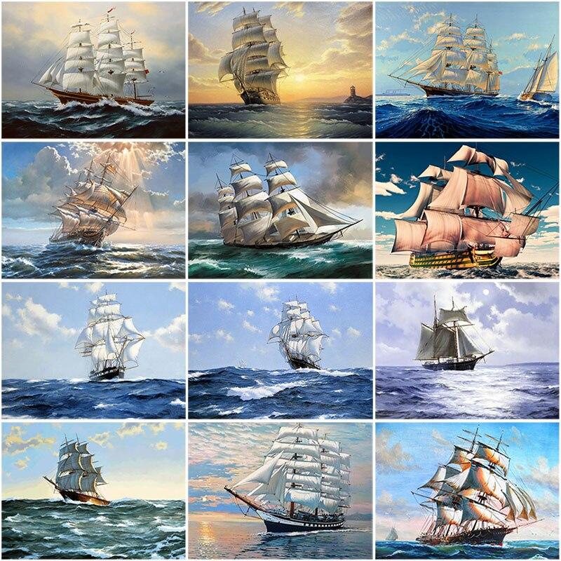 Diy 5d pintura diamante navio no mar cheio redondo diamante bordado kits de ponto cruz paisagem padrões strass mosaico decoração