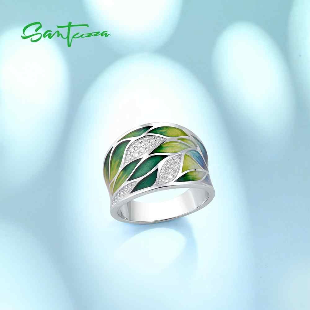Santuza anéis de prata para mulheres, prata esterlina 925 genuína verde folhas de bambu luminosa cz joias da moda feito à mão esmalte