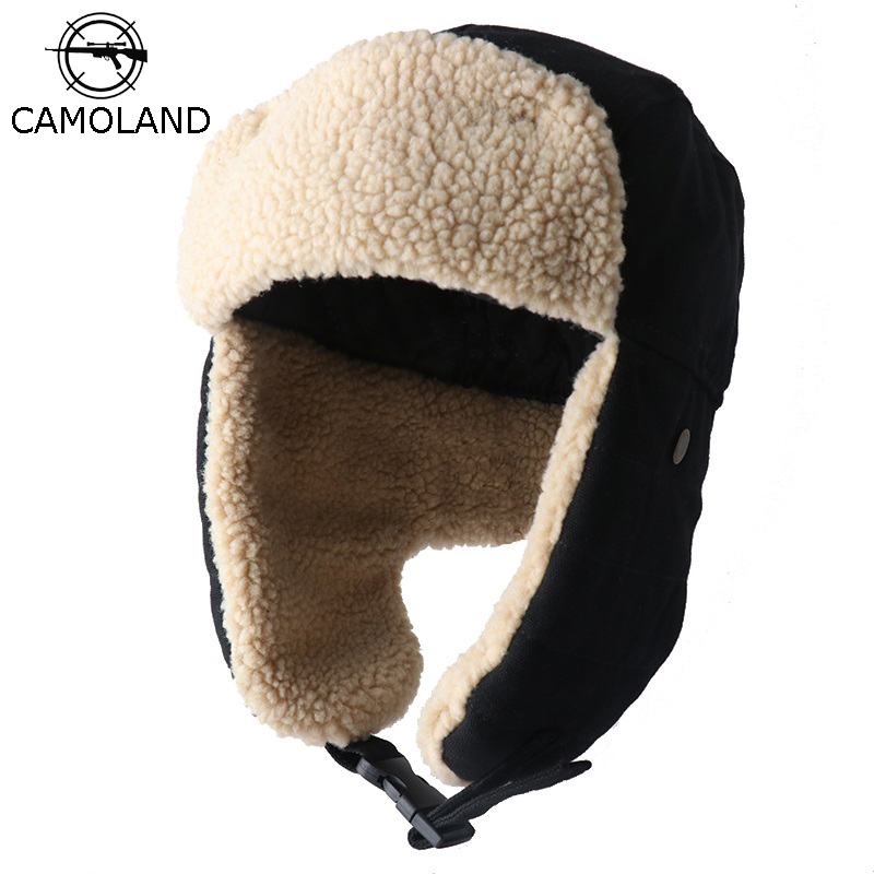 CAMOLAND Women Bomber Hat Pilot Trooper Cap Mens Faux Cashmere Hat Russian Ushanka Earflap Caps Winter Snow Ski Hats