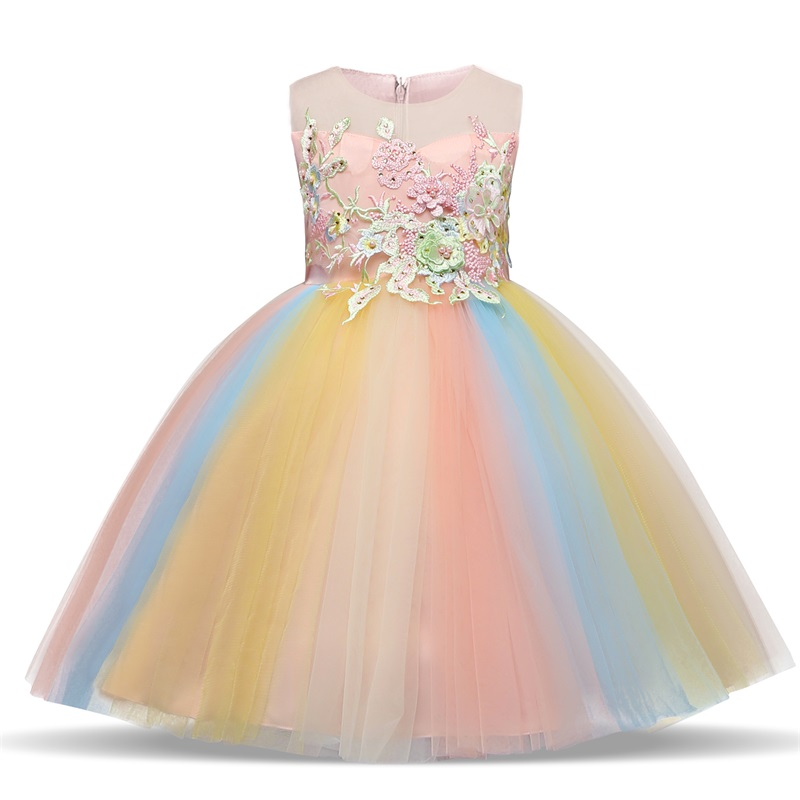 Girls Dresses Clothing Ball-Gown Flower Party Children Sleeveless Embroidery