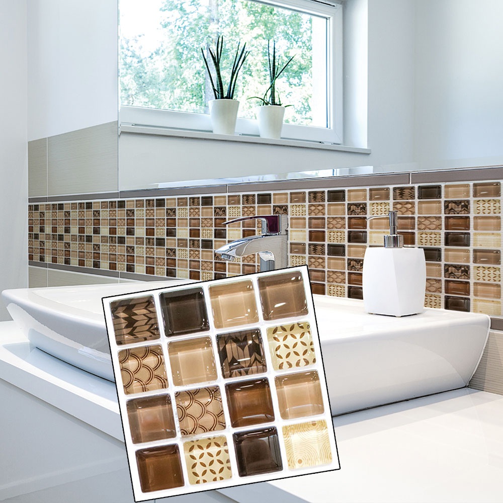 18Pcs Black Mosaic Self-adhesive Kitchen Bathroom Decor Wall Stair Tile Stickers