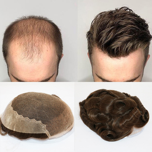 6 Inches Natural Hairlines Men's Toupee Hair Replacement Human Hair Long Lasting Adhesive Hairpiece Swiss Lace Wig Men(China)