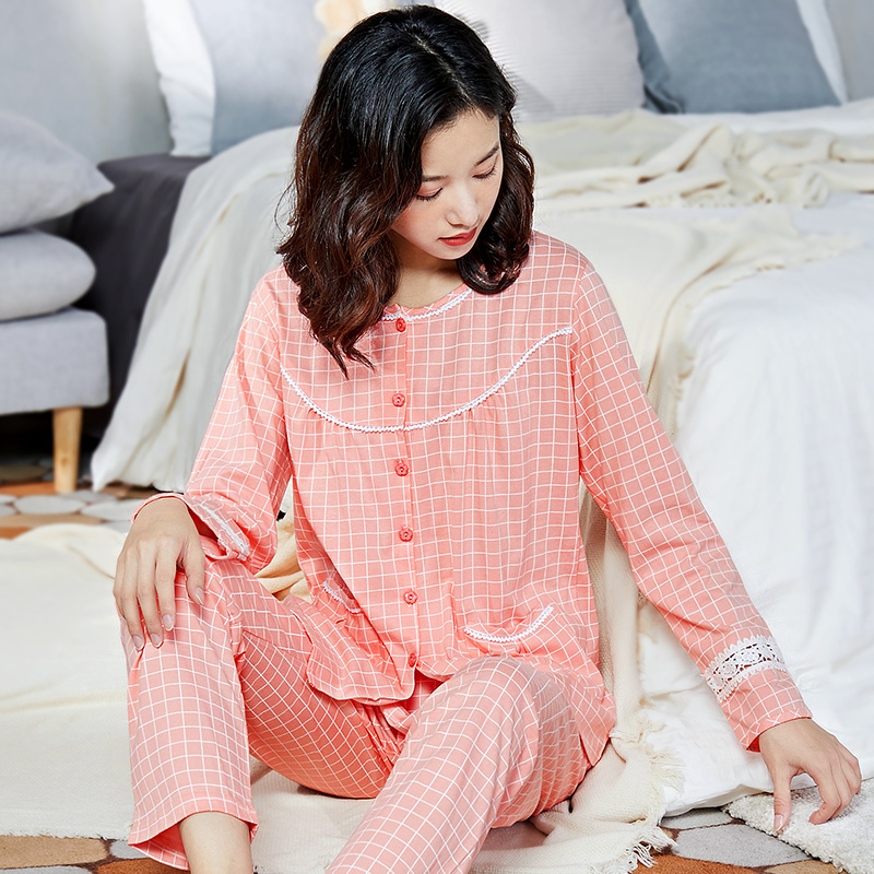 Image 2 - 100% Cotton Pajamas Women PJ 2 Pieces Lounge Sleepwear Bedgown for Ladies 2019 Pink Nightgown Home Clothes Pure Cotton Pajamas-in Pajama Sets from Underwear & Sleepwears