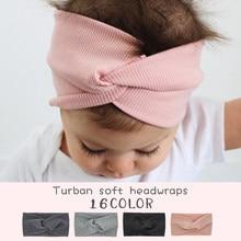 2020 sveglio di Colore Solido Del Bambino Turbante Ragazze Cotone Ritorto Annodato Della Fascia Elastica Hairbands Bambini Impacchi di Testa Accessori Per Capelli