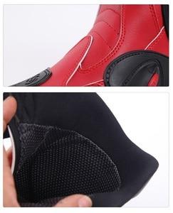 Image 5 - Đua Xe Máy Giày Da Chống Thấm Nước Đi Giày Microfiber Xe Máy Motocross Off Road Bảo Vệ Bánh Răng Moto Giày