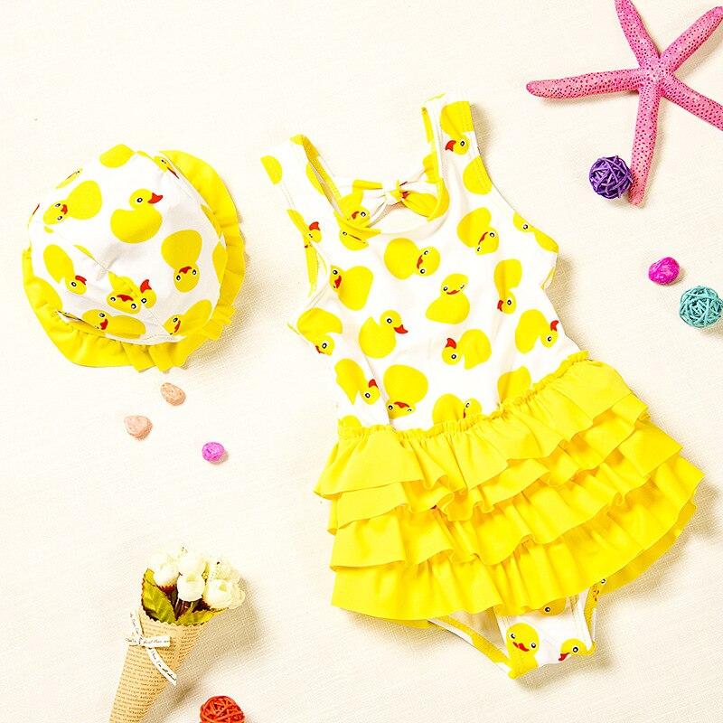Girl'S Baby Hot Springs CHILDREN'S Swimwear Cartoon Yellow Duck Small CHILDREN'S Cute One-piece Princess Dress-Infants Swimwear