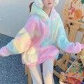 Зимняя Радужная кавайная меховая толстовка, женская теплая Милая Толстовка большого размера, Женский свитшот в стиле Харадзюку, корейская ...