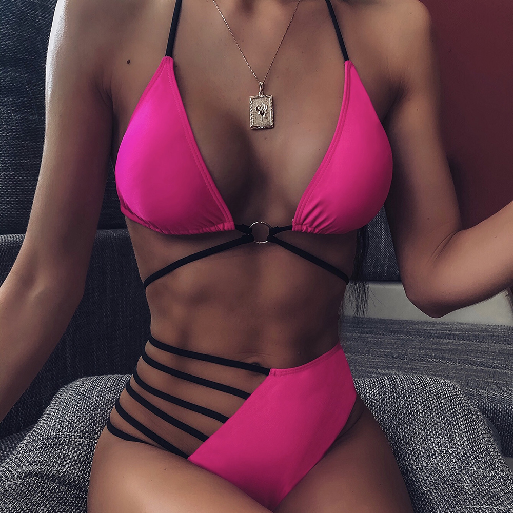 ZTVitality Ring Patchwork String Push Up Bikini 2020 New Arrival Halter Padded High Waist Swimsuit Female Sexy Swimwear Women