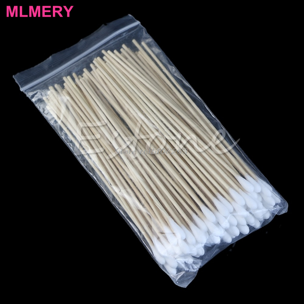100Pcs Medical Swabs 6'' Long Wood Handle Sturdy Cotton Applicator Swab Q-tip #Y207E# Hot Sale