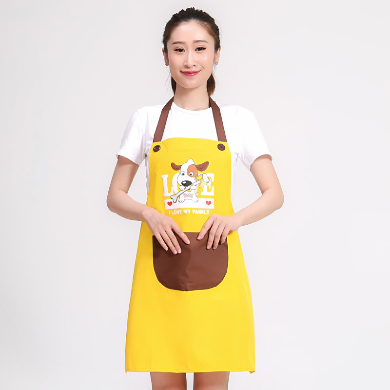 COUPLE'S Cute Pro-Puppy Waterproof Apron Kitchen Antifouling Oil Resistant Adult Protective Clothing Overclothes Sleeveless Work