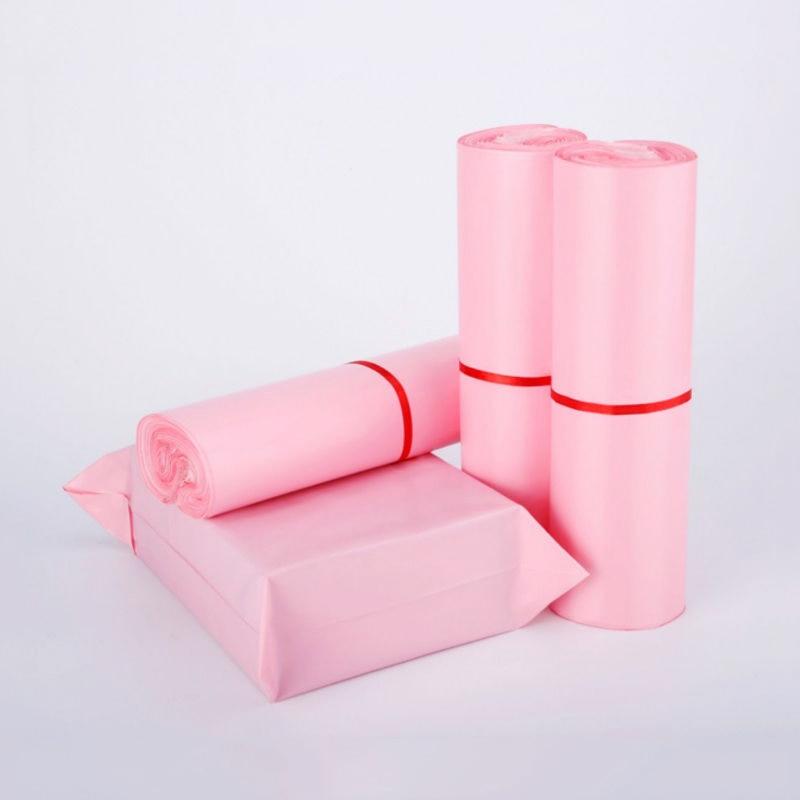 Полиэтиленовые пакеты розового цвета, 50 шт./лот, водонепроницаемые конверты для почтовых отправлений, самозапечатанные почтовые пакеты, ут...