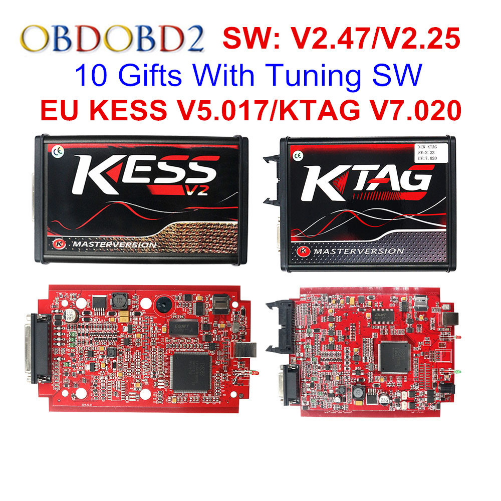 V2.53 Online EU Red KESS V2 5.017 Full Master OBD2 Manager Tuning KESS V5.017 4 LED KTAG V7.020 BDM Frame K-TAG 7.020 ECU Chip