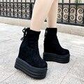 2019 эластичные женские ботинки 13 см на толстой подошве, увеличивающие рост, Ботинки Martin с бархатной подкладкой, теплые хлопковые ботинки на т...