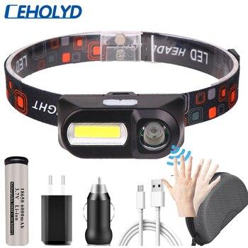 Mini LED sensor Headlamp COB Headlight USB Rechargeable Head Lamp Flashlight 18650 Torch Camping Hiking Night Fishing Light