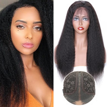 Kinky Straight T Part Wig Human Hair Wigs Brazilian Remy Hair Full Machine WIgs 150 Density Wonder Beauty Cheap Wig
