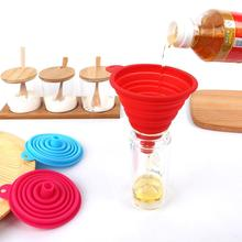 4PCS Mini Folding Funnel Kitchen Portable Silicone Telescopic Funnels Household Collapsible Liquid Dispensing Kitchen Tools 15 protable mini food grade silicone foldable funnels collapsible funnel hopper kitchen home cooking tools accessories gadgets 1pc